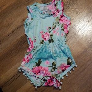 Turquoise with Pink Floral Romper